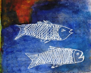 fish in white lines